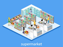 Isometric interior of grocery store. Shopping mall flat 3d isometric web  illustration. Stock Images