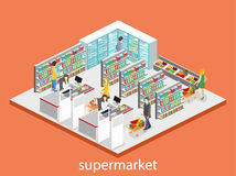 Isometric interior of grocery store. Shopping mall flat 3d isometric web  illustration. Royalty Free Stock Photo