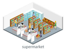 Isometric interior of grocery store. Shopping mall flat 3d  web  illustration. Stock Image