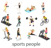 Isometric interior of gym. People involved in sports Royalty Free Stock Photos