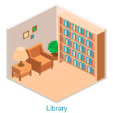 Isometric interior home library. Set of objects vector illustration
