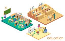 Isometric interior kindergarten, school, university auditorium. education system. Stock Photos