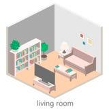 Isometric interior of a living room. Flat design. 3d illustration stock illustration