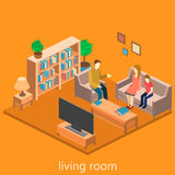 Isometric interior of a living room. Set of object royalty free illustration