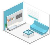 Isometric interior of modern living room. Flat 3D illustration Stock Image