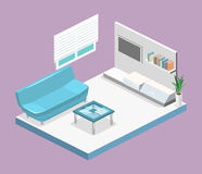 Isometric interior of modern living room. Flat 3D illustration Royalty Free Stock Image