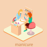 Isometric interior of nail salon stock illustration