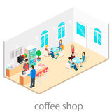 Isometric interior ofcoffee shop. Royalty Free Stock Image