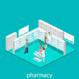 Isometric interior of pharmacy Royalty Free Stock Photography