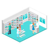 Isometric interior of pharmacy Royalty Free Stock Image