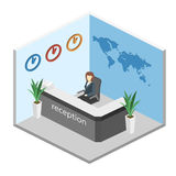 Isometric interior of reception. World map on the wall Royalty Free Stock Image
