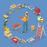 Isometric interior repairs concept. Bricklayer holds a brick. Isometric interior repairs concept. Builder, tools, equipment and items isometric icons Stock Images