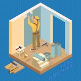 Isometric interior repairs concept. Builder pastes the wall Royalty Free Stock Photos