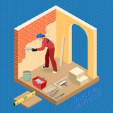 Isometric interior repairs concept. Builder is plastering. Stock Photos
