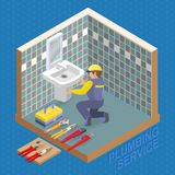 Isometric interior repairs concept. The Plumber. Stock Photos