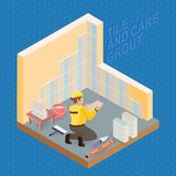 Isometric interior repairs concept. Tiler is tying colorful tile Royalty Free Stock Photo
