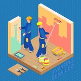 Isometric interior repairs concept. Two decorators are painting Stock Photo