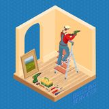 Isometric interior repairs concept. Worker is drilling a wall. Home repair isometric template. The worker is standing on ladder and is drilling a hole in the Stock Photo