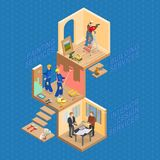 Isometric interior repairs concept. Vector flat 3d illustration. Isometric interior repairs concept. Worker is standing on ladder and is drilling a hole Royalty Free Stock Photos