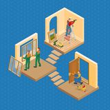 Isometric interior repairs concept. Vector flat 3d illustration. Isometric interior repairs concept. Worker is standing on ladder and is drilling a hole in the Stock Photography