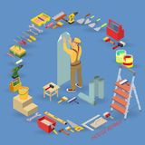 Isometric interior repairs concept. Worker is wallpapering walls. Isometric interior repairs concept. Builder pastes the wall with paper. Worker in yellow Stock Image