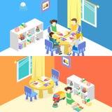 Isometric interior of room in the kindergarten. Children draw. vector illustration