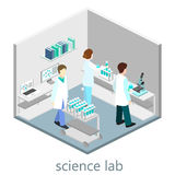 Isometric interior of science laboratory stock illustration