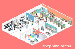 Isometric interior shopping mall, grocery, computer, household, equipment store. Royalty Free Stock Photos