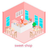 Isometric interior of sweet-shop. Stock Photos