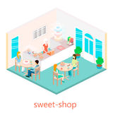 Isometric interior of sweet-shop. Royalty Free Stock Photography