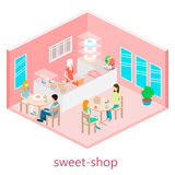 Isometric interior of sweet-shop. Royalty Free Stock Photos