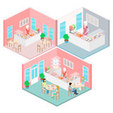 Isometric interior of sweet-shop. People sit at the table and eating. Stock Photo