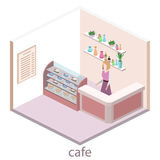 Isometric interior of sweet-shop. People sit at the table and eating. Royalty Free Stock Photography