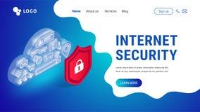 Isometric internet ochrony lądowanie ilustracja wektor