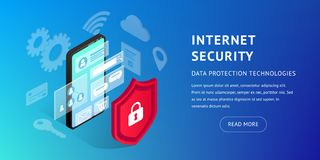 Isometric internet security banner horizontal vector illustration