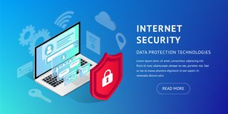 Isometric internet security banner horizontal royalty free illustration
