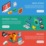 Isometric Internet Security Horizontal Banners. With web servers attack internet fishing activity trojans and viruses vector illustration Stock Photos