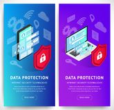 Isometric internet security smartphone vertical banners set stock illustration