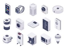 Isometric internet of things devices. Smart watch, household appliances and wireless controlled microwave 3d vector stock illustration