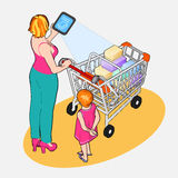 Isometric Internet of Things - Woman with Full Shopping Cart and Royalty Free Stock Image