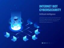 Isometric Internetowy cybersecurity i, sztucznej inteligenci pojęcie ChatBot bezpłatnego robota wirtualna pomoc royalty ilustracja