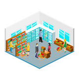 Isometric intireor of grocery store. Shopping mall flat 3d  isometric  concept web  illustration. Royalty Free Stock Photo