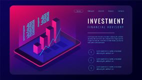 Isometric investment and financial advisory landing page concept. Tablet with 3d charts graphics of investment growth statistics on the screen in violet color Royalty Free Stock Image