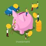 Isometric Investment Financial Process. Flat 3d Money Savings with Piggy Money Box Stock Photos