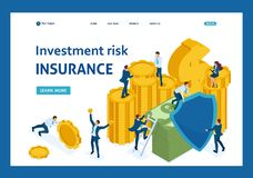Isometric investment risk insurance. Businessmen insure money and assets. Template Landing page stock illustration
