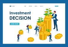 Isometric Investment solutions for income growth. Small shoots grow into large. Template Landing page vector illustration