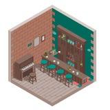 Isometric irish pub. Interior with bar and piano stock illustration