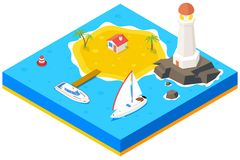 Isometric island with ship, yacht and sea. Vector. 3d background concept. Beach paradise, palm and pier, housing and lighthouse,  vector illustration Royalty Free Stock Images