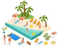 Isometric Island Travel Concept Royalty Free Stock Images