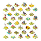 Isometric Isolated Farm Building Icon Set Vector Illustration. Isometric farm house building stuff farming agriculture scene 3D icon set collection vector Stock Photos